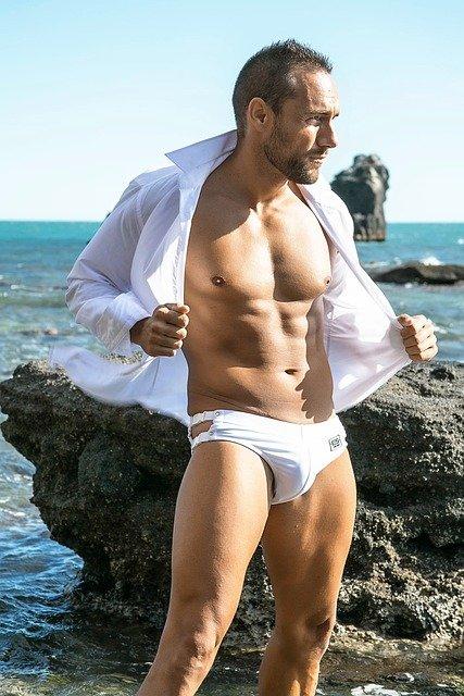 muž, model, moře
