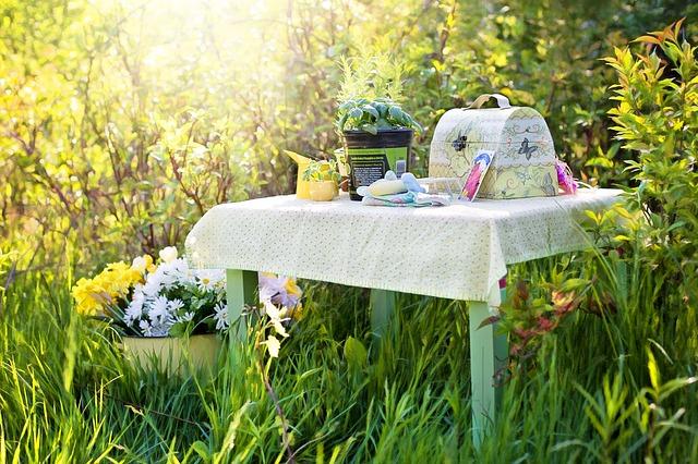 stolek na zahradě
